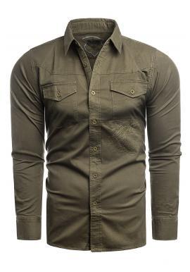 Pánská módní košile s potiskem na zádech v hnědé barvě