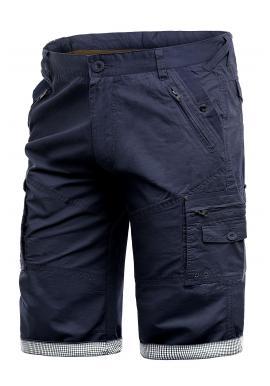 Pánské módní kraťasy s kapsami v tmavě modré barvě