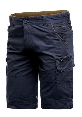 Tmavě modré stylové kraťasy s kapsami pro pány