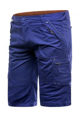 Pánské pohodlné kraťasy s kapsami v modré barvě