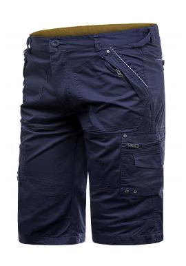 Tmavě modré pohodlné kraťasy s kapsami pro pány