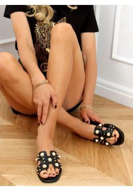 Dámské stylové pantofle s perlami v černé barvě