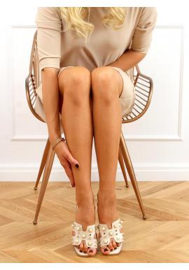 Stylové dámské pantofle béžové barvy s perlami