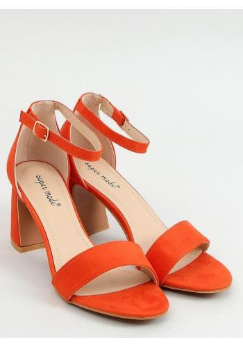 Semišové dámské sandály oranžové barvy na stabilním podpatku