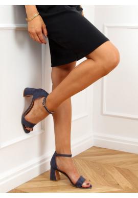 Dámské semišové sandály na stabilním podpatku v modré barvě