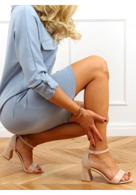 Béžové semišové sandály na stabilním podpatku pro dámy