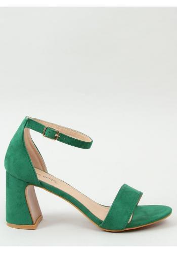 Dámské semišové sandály na stabilním podpatku v zelené barvě