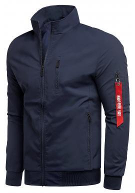 Pánská jarní bunda bez kapuce v tmavě modré barvě