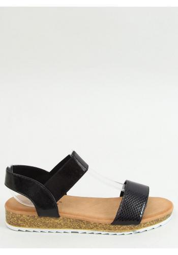 Letní dámské sandály černé barvy s vysokou podrážkou