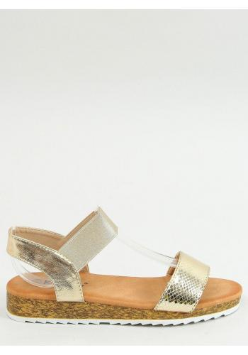 Zlaté letní sandály s vysokou podrážkou pro dámy