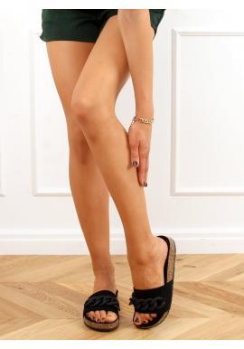 Dámské semišové pantofle s řetízkem v černé barvě