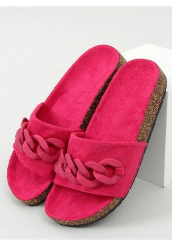 Fuchsiové semišové pantofle s řetízkem pro dámy
