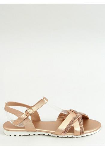 Dámské módní sandály s kamínky v růžovo-zlaté barvě