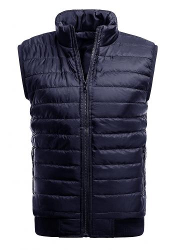 Tmavě modrá oteplená prošívaná vesta bez kapuce pro pány