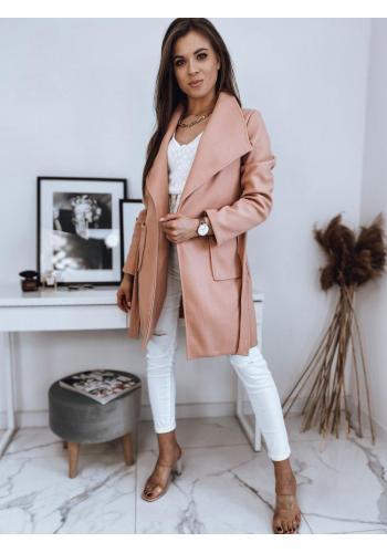 Dámský stylový kabát s vázáním v pase v broskvové barvě
