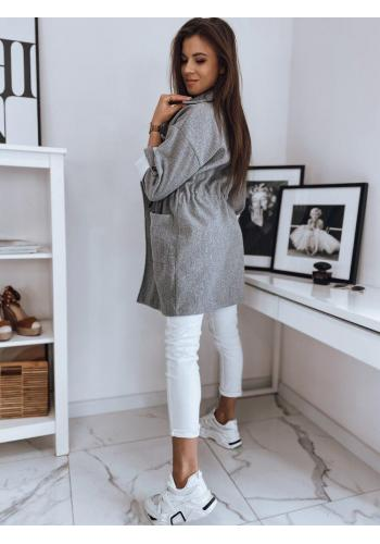 Módní dámský kabát světle šedé barvy s velkým límcem