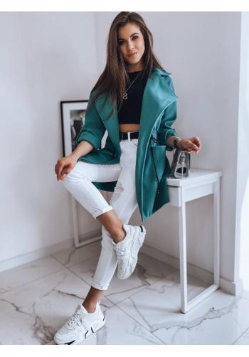 Tyrkysový módní kabát s velkým límcem pro dámy