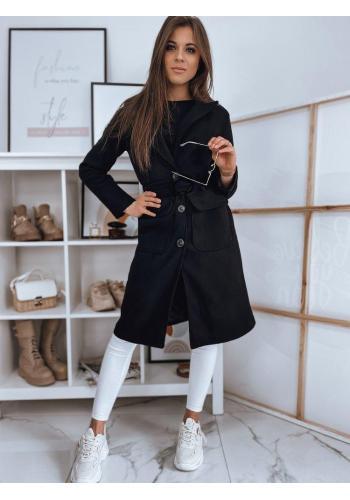 Dámský klasický kabát s páskem v černé barvě