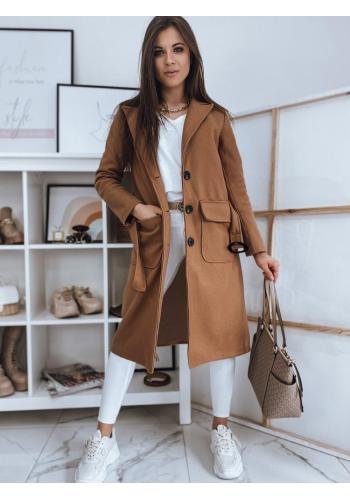 Klasické dámské kabáty hnědé barvy s páskem