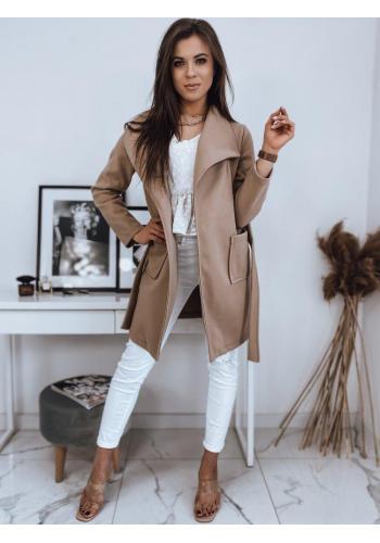 Dámský stylový kabát s vázáním v pase v béžové barvě