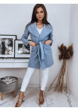 Stylový dámský kabát světle modré barvy s vázáním v pase
