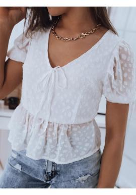 Letní dámská halenka bílé barvy s véčkovým výstřihem