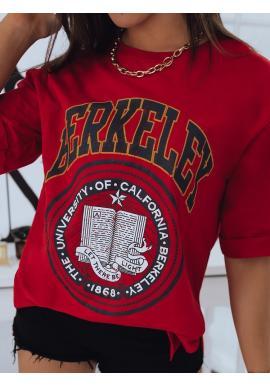 Dámské oversize tričko s rozparky v červené barvě