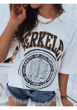 Oversize dámské tričko bílé barvy s rozparky