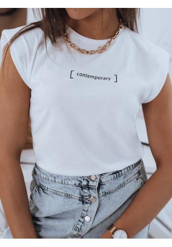 Bavlněné dámské tričko bílé barvy s minimalistickým nápisem