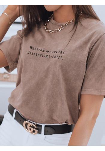 Hnědé bavlněné triko s krátkým rukávem pro dámy