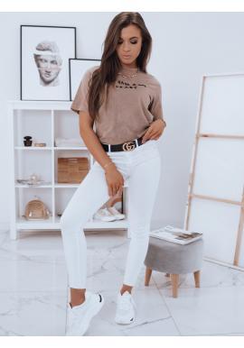 Dámské bavlněné tričko s krátkým rukávem v kapučínové barvě