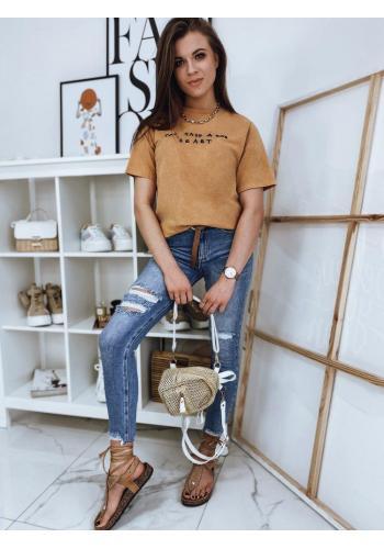 Bavlněné dámské tričko hořčicové barvy s krátkým rukávem