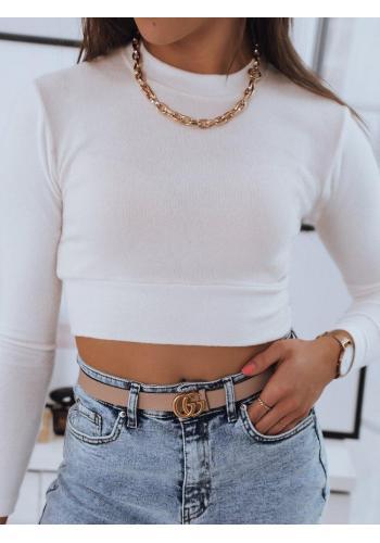 Dámský krátký svetr s kulatým výstřihem v bílé barvě