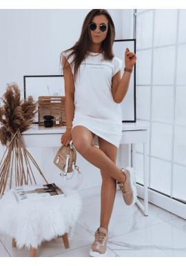 Bavlněné dámské šaty bílé barvy s nápisem
