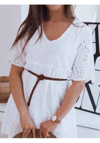 Bílé volné šaty s ažurovým vzorem pro dámy