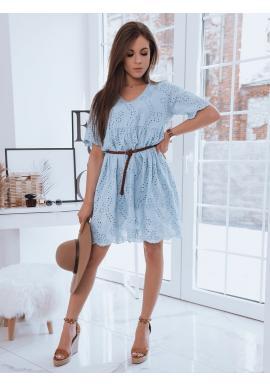 Volné dámské šaty světle modré barvy s ažurovým vzorem