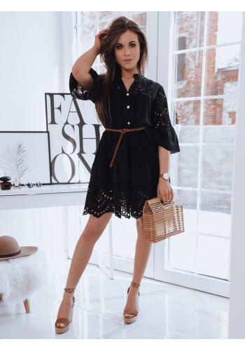 Dámské ažurové šaty s volným střihem v černé barvě