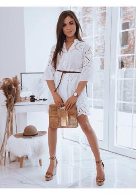 Bílé ažurové šaty s volným střihem pro dámy