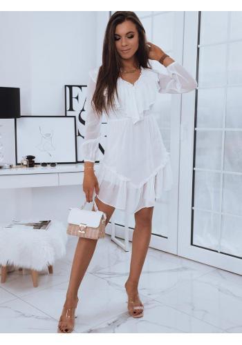 Romantické dámské šaty bílé barvy s ozdobnými volány
