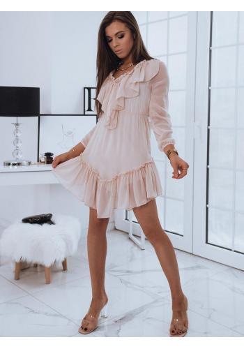 Růžové romantické šaty s ozdobnými volány pro dámy