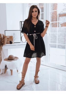 Dámské volné šaty s ažurovým vzorem v černé barvě