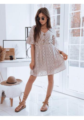 Béžové volné šaty s ažurovým vzorem pro dámy