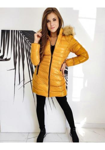 Žlutá prošívaná bunda s lesklým povrchem pro dámy