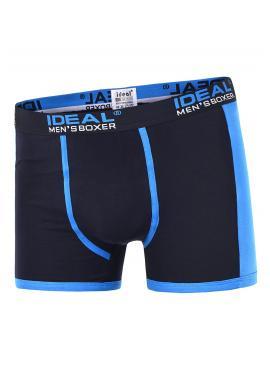 Pánské bavlněné boxerky s kontrastními vložkami v tmavě modré barvě