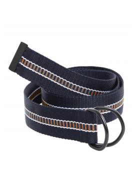 Látkový pánský pásek modro-hnědé barvy