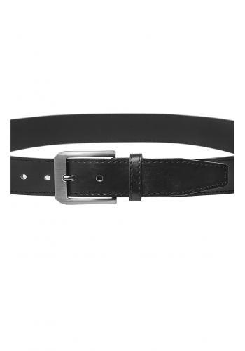 Kožený pánský pásek černé barvy se stříbrnou přezkou