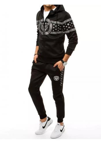 Černá módní tepláková souprava s potiskem pro pány