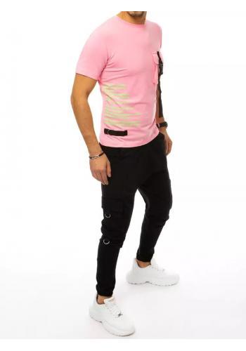 Komplet pánského trička a kalhot růžovo-černé barvy s potiskem