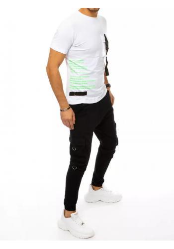 Pánský komplet trička a kalhot s potiskem v bílo-černé barvě