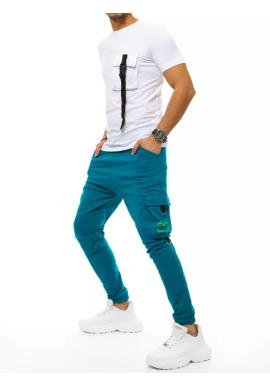 Bílo-modrý komplet trička a kalhot s potiskem pro pány